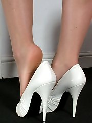 Michelle wears high heel shoes with a thin stiletto in one of her favourite sizes, 5 inches! As you think of her maybe your thoughts will raise your passion in your shoe fetish, so that your cream runs freely as if it was running down her slim tapered high heel