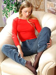 Smashing chick in control top pantyhose revealing new way of footsy games