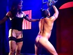 Mistress punishes her slaves ass, makes him suck a dildo and takes a cumshot on her tits