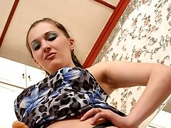 Slutty chick cant simply look at lewd guy fitting his ass up on strap-on
