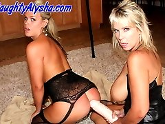 Alysha and Roxy take turns fucking each other with some huge strap-ons.