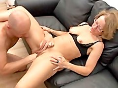 Hot blonde MILF brutally fist fucked by two brutes