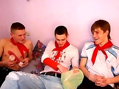 Boys learn their first gay lessons from mature men!