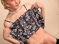 Cute twink in his sister's sundress shows his big cock