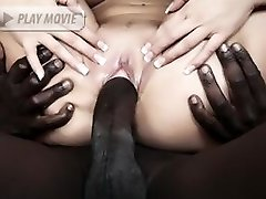 Stocking clad blondie Anna Nova welcomes a black cock in her mouth and cooter in this...