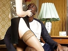 Adorable mature redhead rides huge ebony rod