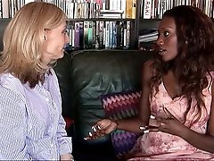 Interracial lesbian sex video clips featuring Naomi Banxxx and Nina Hartley