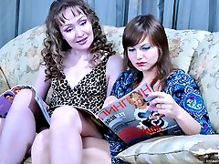 Two lesbo babes leave a mag for girl-on-mom sex with arousing French kisses