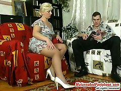 Chubby mature gal lowering her silky pantyhose to feel thrust of rocky cock