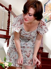 Lovely babe caught adjusting her sheer nylons forced to lez strap-on play