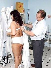 Busty mature woman Daniela gyno pussy and big tits exam