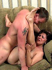 Lucky guy gets mature female doctor drunk and fucks her brains out right on his couch