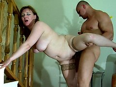 Chubby mommy ready to start with a blowjob aching to get screwed by a stud