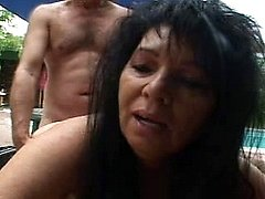 Dirty lustful granny in mad fucking thrill by the pool
