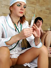 Sultry nurse in classy pantyhose letting her patient inspect her tight hole