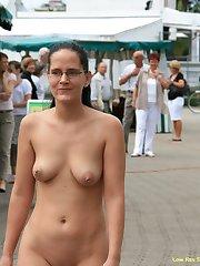 Sexy flasher enjoys exposing in public