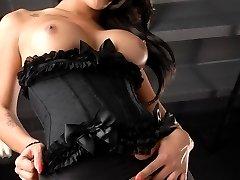 Beautiful Jane strokes in a corset