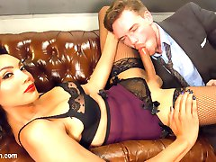 Asshole office head Lucas Knight THINKS his secretary got him a hooker...what he doesn't realize is that it's his devastatingly gorgeous secretary herself, Yasmin Lee, and she's here to punish him for his bullshit sexist male-ego attitude! All it takes is being at the other end of the divine Miss Lee's cane and thick, rock hard cock to put this misogynist whore pig in his place! She fucks him deep in the ass - humiliatingly bent over his own desk!! - making him suck her delicious meaty cock and luscious balls until the reformed Mr. Knight cums all over his own face and slurps up both his sticky filth load and Yasmin's own sweet, delicious nectar!