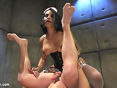 Rick Fantana falls asleep jacking off to TS Foxxy's filthy porn. In this hot nightmare dream cum true Foxxy hangs this horny, desperate man by his ankles, shoves a buttplug in his ass and jerks his cock until he blows a load onto his own face. Rick enjoys a suspended 69 and Foxxy's perfect round ass before she drops him to the floor of the padded cell and fucks his manhole. The hard pounding is so intense and hot Rick cant help himself and cums a second time. After Foxxy is done she leaves him covered in her cum and wishing he never had to wake up from this hot fucking dream.