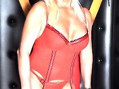 Sexy Tranz Girl Leona loves to show off her great figure and fantastic big tits in some Christmas red lingerie and stockings