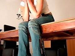 Hot babe with jeans pulled down caned hard across the table - deep tramlines