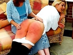 Buxom slut caned in the conservatory - hot rippling buttocks