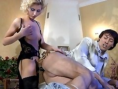 Leggy blonde makes a guy blow her rigid rubber rod and take it up the brown