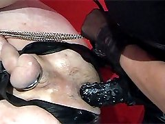 Strapon Jane fucks Rex the submissive puppy nice and hard with her monster strapon.