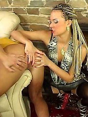 Strap-on armed gal in black stockings giving eager boy perfect anal workout