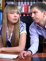 Hot office girl puts the moves on her male co-worker before nailing his ass