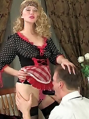 Hot French maid taking advantage of the opportunity to strap-on fuck a dude