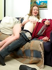 Drunk guy surrenders to frenetic strap-on fucking with his next-door babe