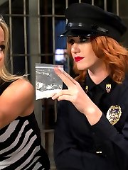 In this roleplay update sexy redhead Elle Alexander plays a rookie cop who busts known sexy MILF prostitute Simone Sonay for hiding drugs in her cunt! Elle is looking for the perfect bust to show all the other male pig cops she can play with the big boys too but also has a penchant for sexy MILF prostitutes and making them worship and entertain her hot body! Elle uses this to her advantage and whips and spanks the sexy MILF, finger banging her to orgasm. She canes her leaving wicked stripes on her thighs and ass and sits on Simone's face  cumming all over her. Elle fist fucks Simone then double penetrates her showing this hooker who's boss!