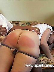 Brutal bare bottom spanking - large quivering cheeks - tears of shame