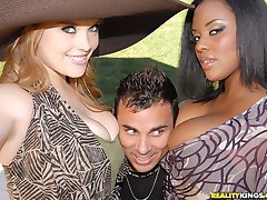 2 hot fucking black and white babes share their hot big tits and black ass in these outdoor...