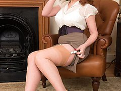 We join Red in the study where she gives proper old school masturbation training stripping to high class heels and British sheer ff nylons.