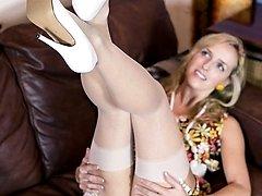 Blonde Skye getting excited in her yellow bullet bra, garter belt and RHT nylons!