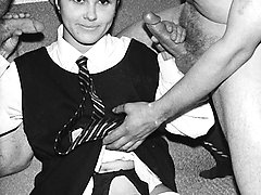 1960s slut in stockings takes on two cocks!