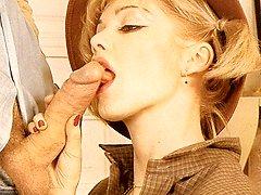 Blondie retro babe gets cock