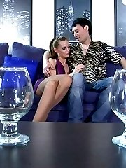 Bitchy chick whips out her strapon dick and brutally screws her drunken guy