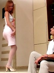 White-stockinged chick probing a tight male asshole with her huge strap-on