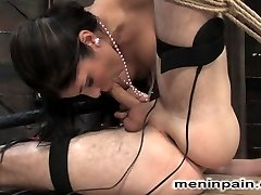 Mistress Sativa Rose puts the juice to nomad in this typically sexy as hell update.  She shocks the shit out of his salami but makes it all finer with some exclusive oral job attention from her super sexy mouth.  The electro sex continues through restrictive bondage, ass adore and finishes off with nomad corded to a filthy mattress for the dream fuck of his year.