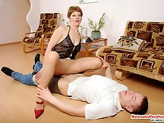 Nosey neighbor spying upon passionate mom taking on extremely seductive hose