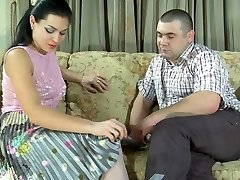 Tough stunner in white pantyhose prefers a meaty stick to a rubber sex toy