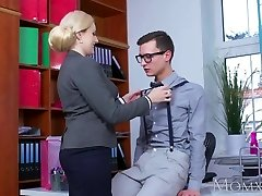 MOM Blonde immense tits Milf sucks immense geek cock