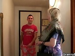Huge-chested old granny picked up by young dude