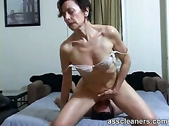 Horny Cougar facesits a slave for ass licking and cleaning