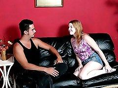 Chubby girlfriend hand punishing lazy boyfriend