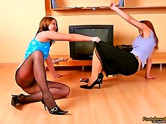 Salacious babes having freaky time playing frantic nylon games on the floor