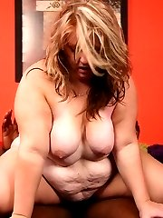 BBW Dani flaunts her huge fat ass and goes down on her knees to cram a big black dick in her mouth